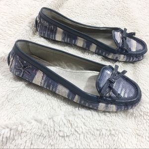 "Coach ""Irene"" Beach Theme Loafers, Blue, Sz 7"